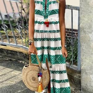 Brand new White Maxi Dress with Green Design